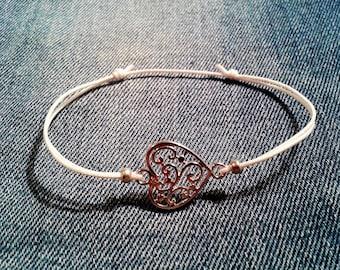 Sliding knot heart bracelet
