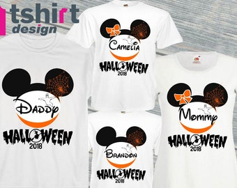 family halloween shirts custom halloween t shirt disney heads tshirts for families personalised mickey and minnie halloween tees