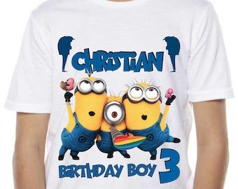 ccac51c22 Minions Birthday Shirt Custom Name and Age Personalized Minions Birthday  Tshirt. Birthday Party tee. Daddy Minion tee