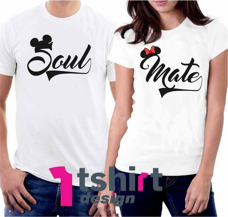 Wifey and Hubby Cute Soul Mate Disney Couple matching cute T-Shirts S-4XL