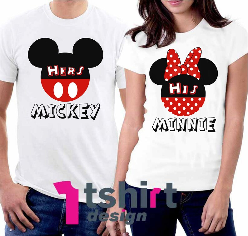 Her Mickey His Minnie t shirts Mickey and Minnie Matching shirts Couple Disney shirts Honeymoon Disney shirts Mickey Minnie heads bow tees