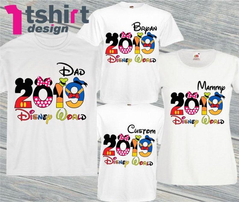 ad90de91d00 Disney World 2019 family shirts Personalized 2019 Disney t shirts Disney  tee Here we come Disney squad characters shirts Disney World group
