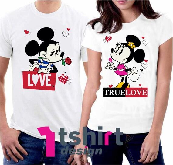 True Love Disney Matching Shirts. Minnie and Mickey Couples T Shirts. Disneyland Matching Shirts. Disney Valentines Day. Honeymoon t shirts