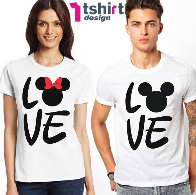 80ece24adf21 Matching shirts Love Disney t-shirts set Couples Disney Ears