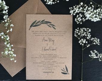 OLIVE    RECEPTION INVITATION budget invites, rustic wedding invitations, foliage invitations, rustic wedding, budget wedding invitations,