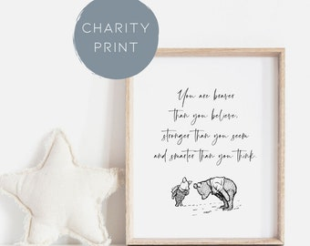 Charity Print   Childrens print   Winnie the pooh Bravery wall art   Inspirational quote print   You are stronger than you think  Kids print