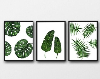 Set of 3 tropical leaf prints, a4 wall art botanical leaf design