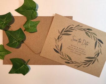 OLIVE || SAVE THE dates, budget invites, rustic wedding invitations