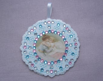 Mothers - wall decor for child or MOM - mother and child - doily paper lace - pink rhinestones.