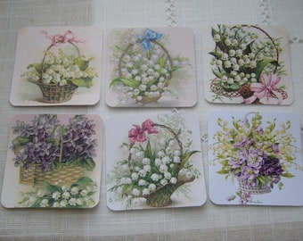 Set of 6 tags 1st of may Valley baskets, embellishments, tags, pictures, labels, tags