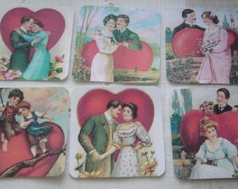 Set of 6 embellishments, tags, pictures, for lovers, pictures, labels, tags
