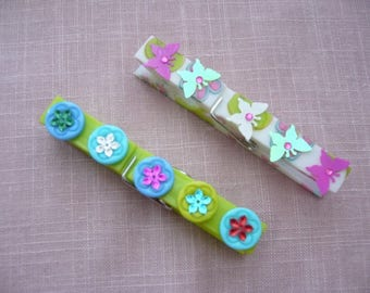 Set of two large clips decorated handmade butterflies and buttons floral Clipboard or reminders or magnets