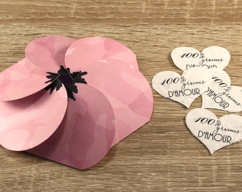 Flower and its seeded paper hearts