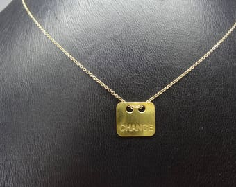 """Gold plated necklace and pendant """"luck"""" message"""
