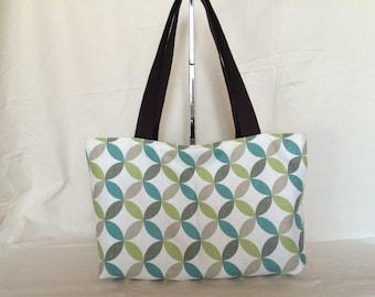 A rectangular bag ecru, blue and green tones