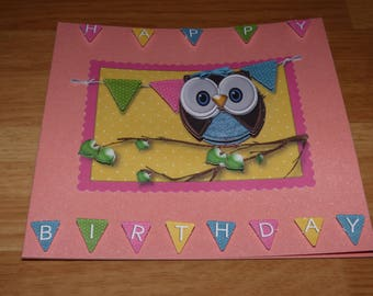 RELIEF THEME 'OWL BIRTHDAY' CARD