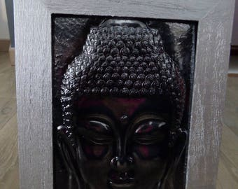 SILVER FRAME WITH BLACK EMBOSSED BUDDHA