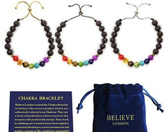Believe London® Chakra Bracelet With Jewelry Bag & Meaning Card | Adjustable Bracelet To Fit Any Wrist 7 Chakra Natural Stone Healing