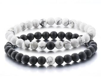 Long Distance Bracelets Relationship Friendship Couples His Hers Black Agate Onyx White Howlite Stones Healing Energy Strong Elastic 2pcs