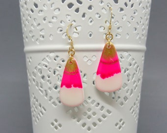 Pretty earrings white, alcohol ink, resin and Gold Filled hooks