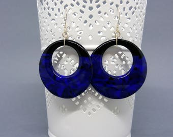 Blue different marble pattern and resin earrings