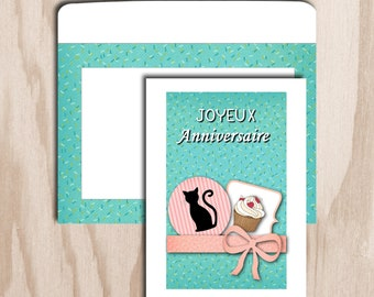 Birthday card and envelope digital print - cat with blue cupcake figure