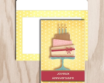 Birthday card and envelope is a digital print - cake 3 floors with candles - yellow stars