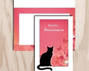 Birthday card and envelope digital print - pink floral background sitting cat figure
