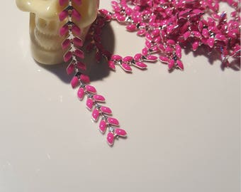 Chain with pink enamel silver plated brass spike or chevron