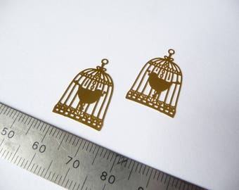 Set of 2 prints with raw brass bird cages