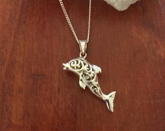 Sterling silver Dolphin filigree pendant