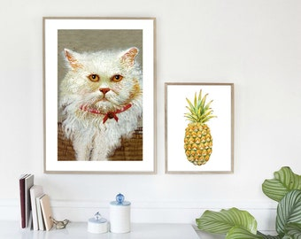 digital downloads file painting print, cat instant downloadable file, printable