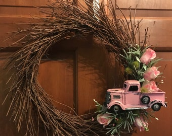 Pink truck and Florals twig wreath