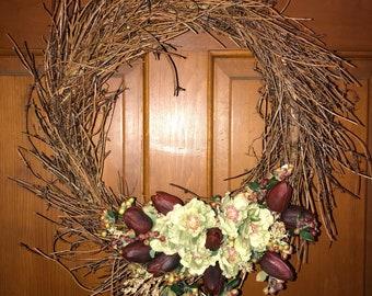 Floral twig wreath