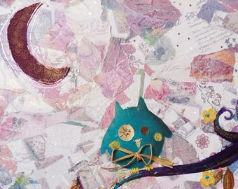 """""""curious OWL"""" acrylic and collage painting on canvas paper"""