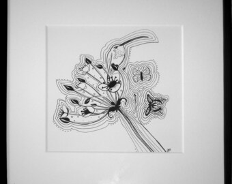 """Drawing """"Hummingbird"""" framed black and white"""