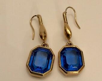 Vintage blue glass drop earrings