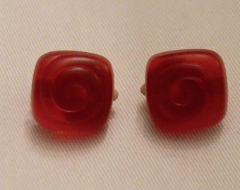 Vintage Raspberry resin clip earrings