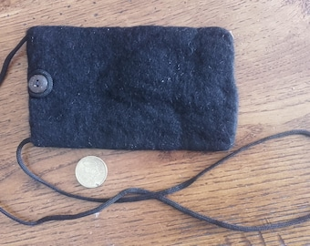 Small pouch made of felt black blank (size 15 x 09 cm) with 80cm strap