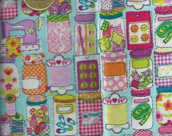 quilting cotton fabric printed with buttons, spools - 55x50 cm