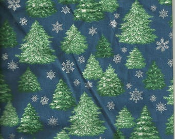 Christmas fabric: Forest of trees stars (coupon 55 x 40 cm) 100% Cotton Patch