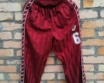 06ceca6f Asics athlete pants/side tape logo/nice design/zipper/maroon color/kappa  trackpant