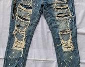 distressed denim forever 21 homeless fashion like seditionaries pants punk fashion like kapital boro undercover