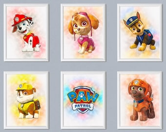 Set Of 6 PAW Patrol Print PAW Patrol Poster Marshall Rubble Chase Skye  Characters Nursery Decor Birthday Decoration Printable Download Art