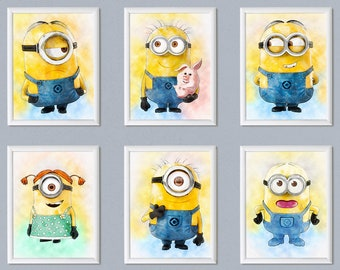 Set of 6 Minions print Despicable Me poster Watercolor effect Minions Bob Stuart Kevin print Printable download Nursery decor wall art