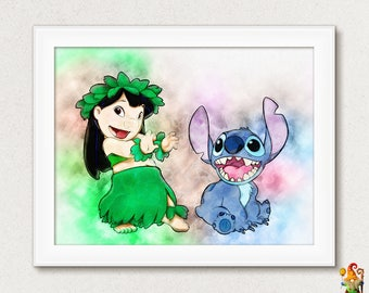 lilo stitch wall art etsy