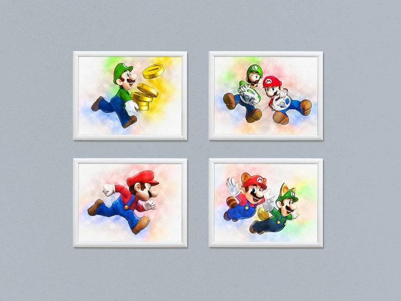 Mario wall art, Super Mario prints, Watercolor printable download, Party  decoration, Kids birthday gift, Mario and Luigi, SET of 4 Download