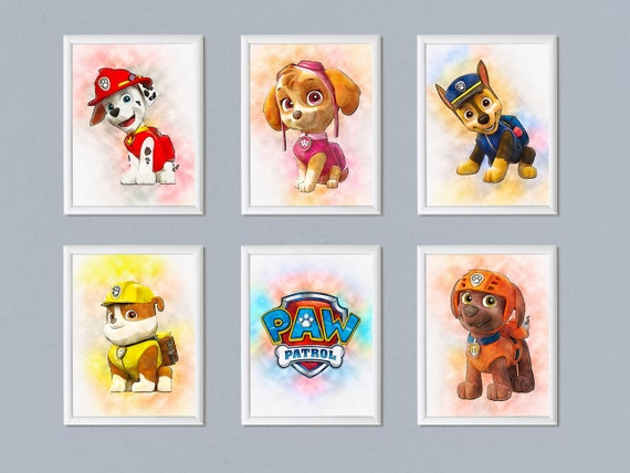 image about Paw Patrol Printable Pictures titled Fastened of 6 PAW Patrol print PAW Patrol poster Marshall Rubble