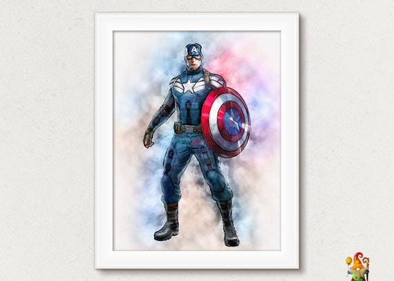 Captain America Print Super Hero Printable Poster Download Art