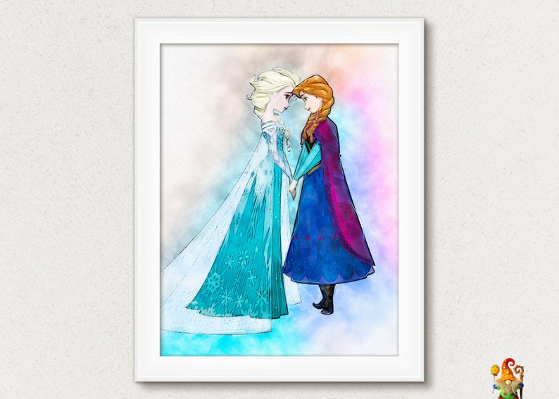 photo regarding Elsa Printable referred to as Frozen Elsa print Elsa printable Disney Frozen poster Frozen wall decor Elsa Anna watercolor impression Frozen Disney printable Anna poster